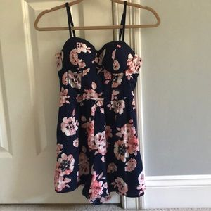 Blue Floral Romper with Built in Cups